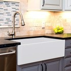 Nantucket T-FCFS36 36 Inch Farmhouse Fireclay Sink with Offset Drain and Grid