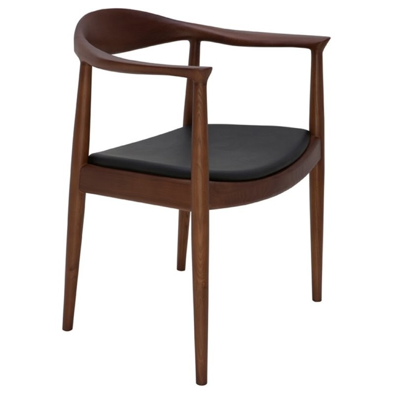 Nuevo Brie Dining Chair Black: Nuevo Johan Leather Dining Arm Chair In Black And Walnut