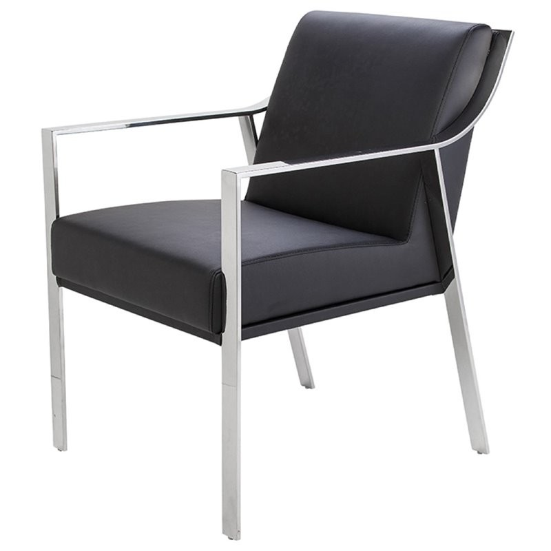 Nuevo Brie Dining Chair Black: Nuevo Valentine Faux Leather Dining Arm Chair In Black