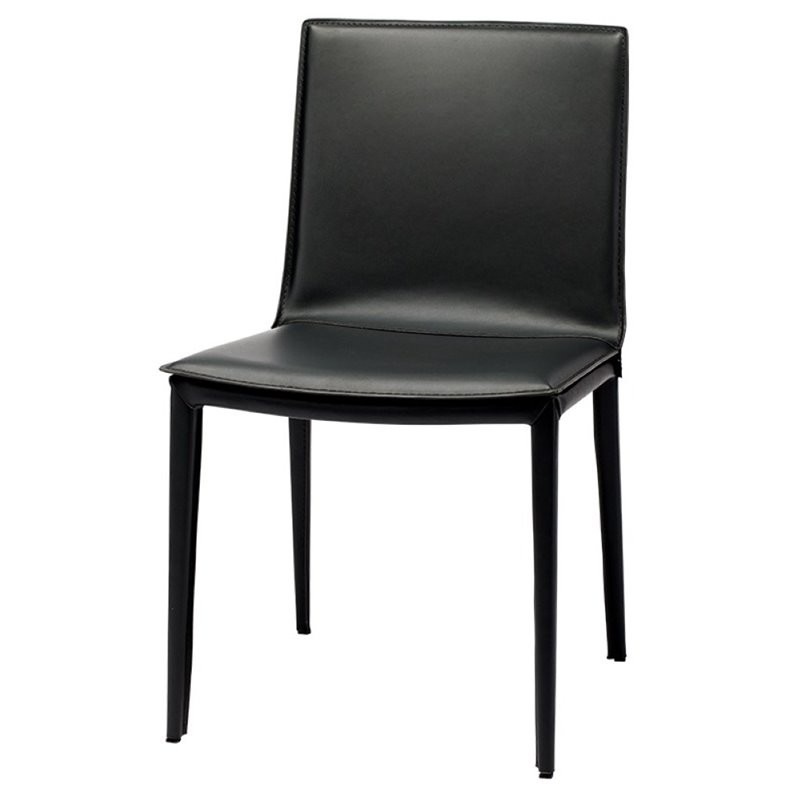Nuevo Brie Dining Chair Black: Nuevo Palma Leather Dining Side Chair In Black