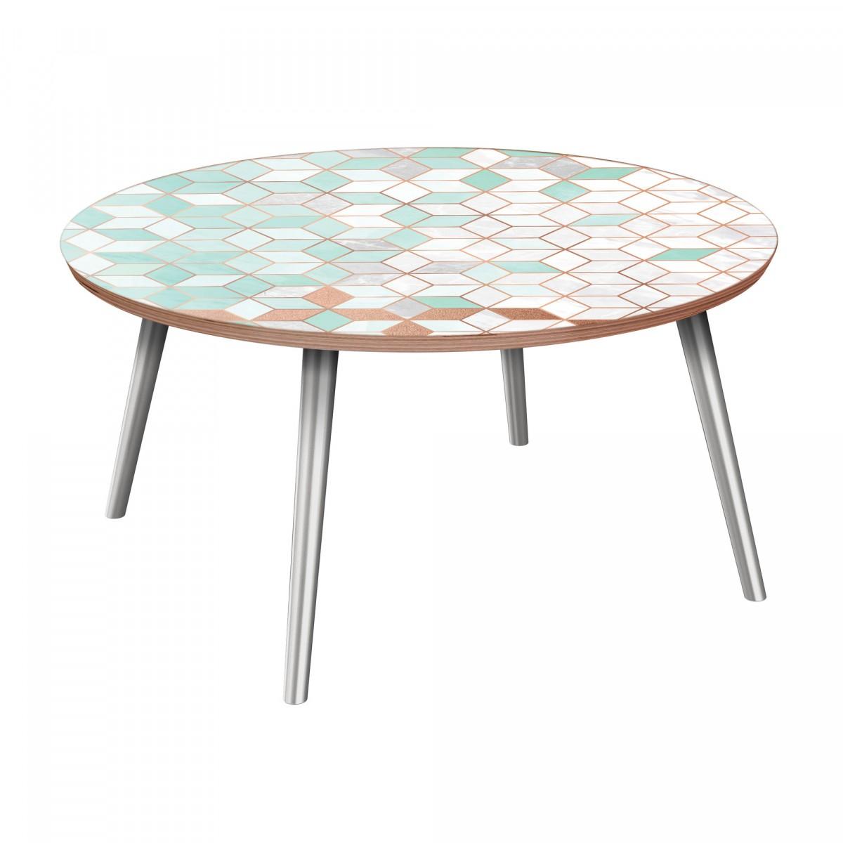 Deco Chrome Coffee Table: Nye Koncept Stella Mint & Copper Deco Walnut Flare Coffee