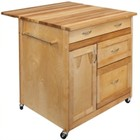 Pemberly Row Kitchen Cart in Oiled Brown
