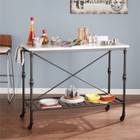 Pemberly Row Faux Marble Kitchen Island in Matte Black