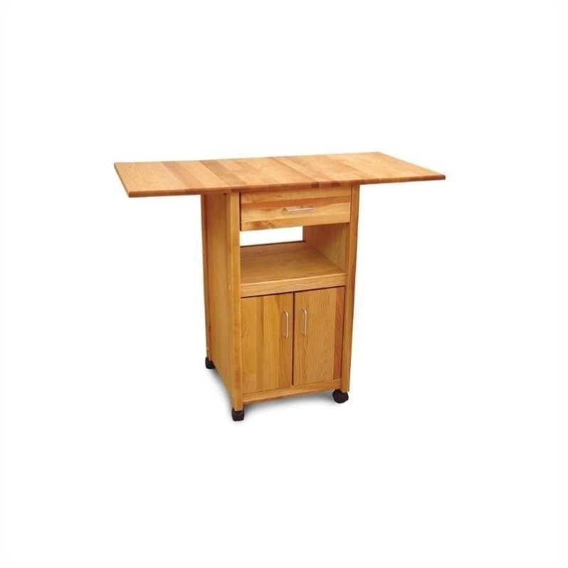 Pemberly Row Drop Leaf Butcher Block Kitchen Cart in Natural Finish
