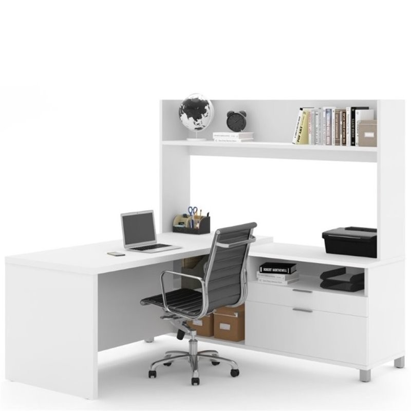 Pemberly Row L Shaped Computer Desk With Hutch In White