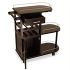 Pemberly Row Entertainment Cart in Espresso Beechwood