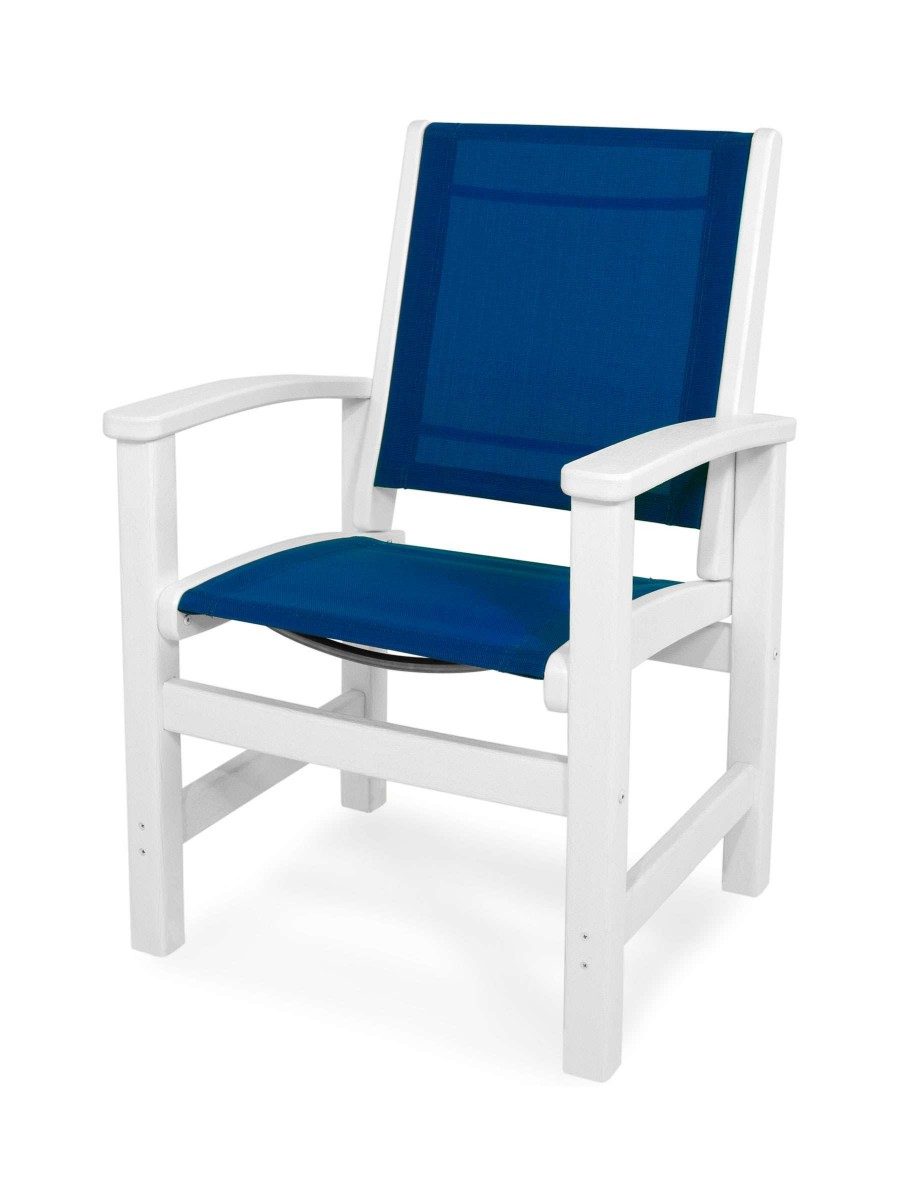 Royal Blue Chair Decor Pink Living Room: Polywood Coastal White And Royal Blue Sling Dining Chair