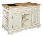 "Powell Pennfield Collection D1030D16WI 56"" Kitchen Island with 3 Adjustable Shelves  3 Drawers  Removable Granite Cutting Board  Silverware Tray and Rubberwood Materials in White Finish"