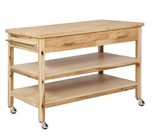 "Powell Lovett Collection D1080D17 50"" Kitchen Cart with Distressed Detailing  Casters and 2 Shelves in Natural Finish"