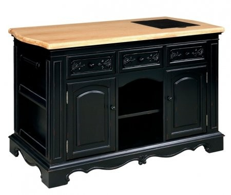 """Powell 318-416 56"""" Pennfield Kitchen Island with Natural Finished Top  Black Granite Removable Cutting Surface on top and Black Sand-Through Finished Base"""