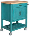 "Powell Conrad Collection D1008A15T 30"" Kitchen Cart with 1 Drawer  2 Doors  2 Shelves  Thick Butcher Block Top  Rubber and Pine Wood Construction in Teal Color"