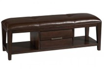 Pulaski 330400 Sable Bench with 1 Drawer  2 Open Compartments  Upholstered Seat and Metal Hardware in Dark Brown Veneer Finish