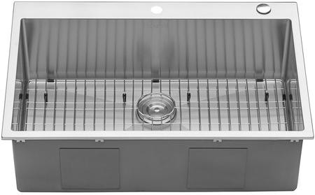 Ruvati Tirana Collection 33 X 22 Single Bowl Kitchen Sink With 16 Gauge Premium T 304 Grade Stainless Steel 3 5 Drain Opening Tight Radius Heavy
