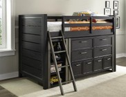 Samuel Lawrence Graphite 8947357367373PC Bedroom Set with Twin Size Mid Loft Bed + Dresser + Bookcase in Black Color
