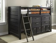 Samuel Lawrence Graphite 8947357367372PC Bedroom Set with Twin Size Mid Loft Bed + Dresser in Black Color