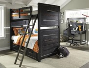 Samuel Lawrence Graphite 8942730731732BDHD 5 PC Bedroom Set with Twin Size Bunk Bed + Desk + Hutch + Chair in Black Color
