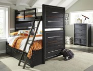 Samuel Lawrence Graphite 8942730731732BCD 3 PC Bedroom Set with Twin Size Bunk Bed + Chest + Underbed Storage Drawers in Black Color