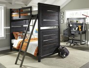 Samuel Lawrence Graphite 8942730731732BDHC 4 PC Bedroom Set with Twin Size Bunk Bed + Desk + Hutch + Chair in Black Color