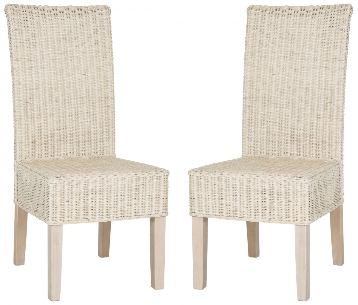 White Wicker Dining Chairs: Safavieh Arjun White Washed Wicker Dining Chair