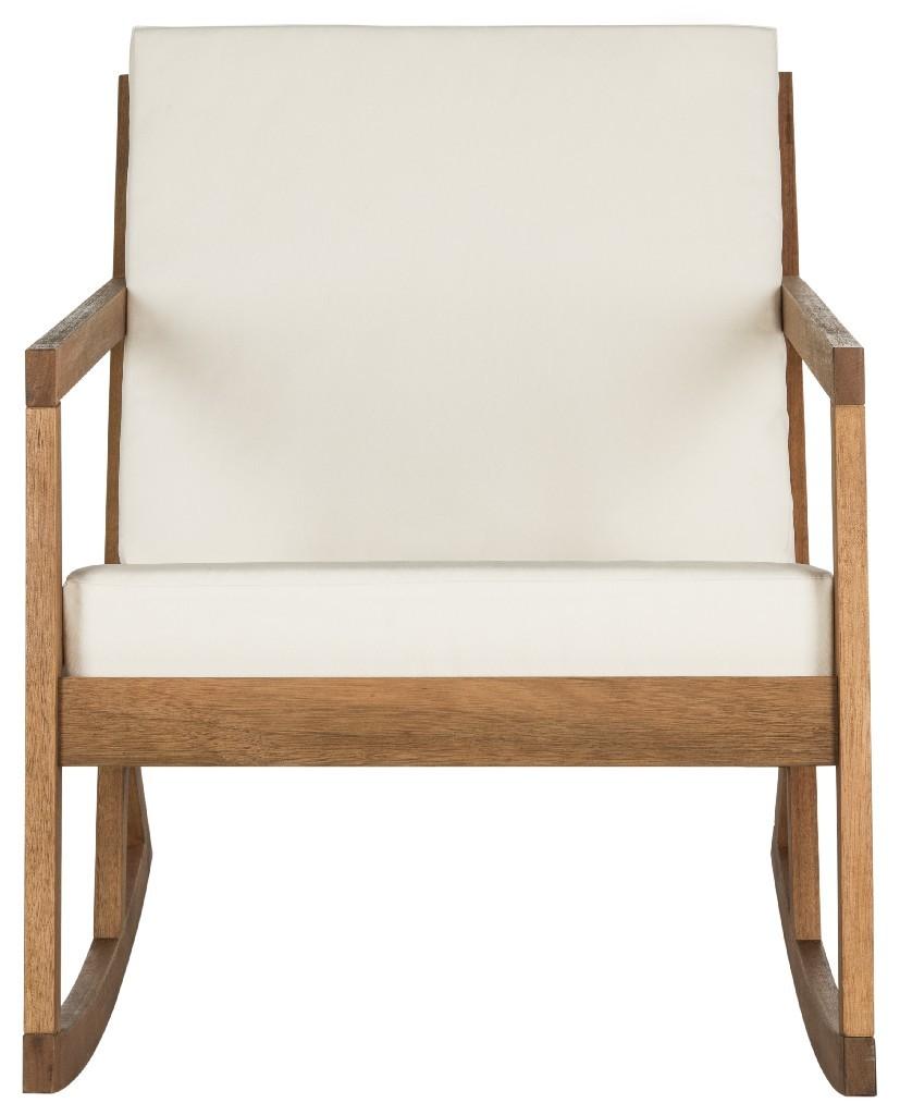 Safavieh Vernon Teak Brown Amp Beige Rocking Chair