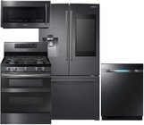 "Samsung 4-Piece Black Stainless Steel Kitchen Package with RF265BEAESG 36"" French Door Refrigerator  NX58M6850SG 30"" Gas Range  DW80M9550UG 24"" Fully Integrated Dishwasher and ME21K7010DG 30"" Over-the-Range Microwave"