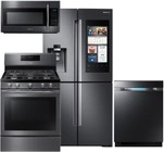 "Samsung 4-Piece Black Stainless Steel Kitchen Package with RF22M9581SG 36"" French Door Refrigerator  NX58J5600SG 30"" Gas Range  DW80M9550UG 24"" Fully Integrated Dishwasher and ME18H704SFG 30"" Over-the-Range Microwave"
