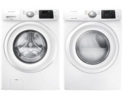 """Samsung White Front Load Laundry Pair with WF42H5000AW 27"""" Washer and DV42H5000EW 27"""" Electric Dryer"""