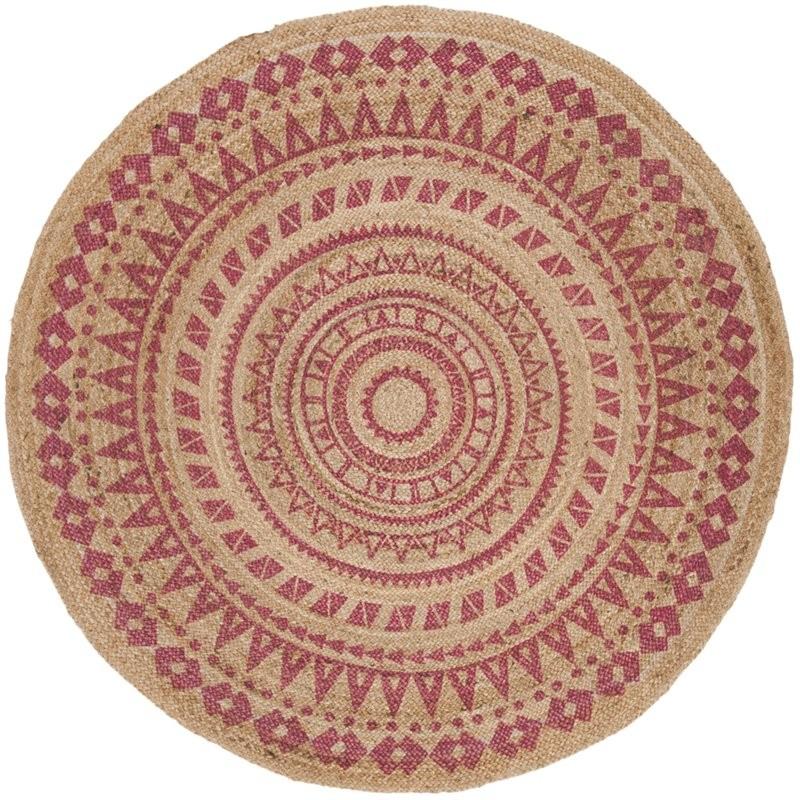 Safavieh Natural Fiber 5' Round Hand Woven Jute Rug In Pink