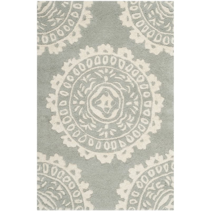 12 10 X 14 11 Persian Karajeh Hand Knotted Wool: Safavieh Bella 10' X 14' Hand Tufted Wool Pile Rug In Gray