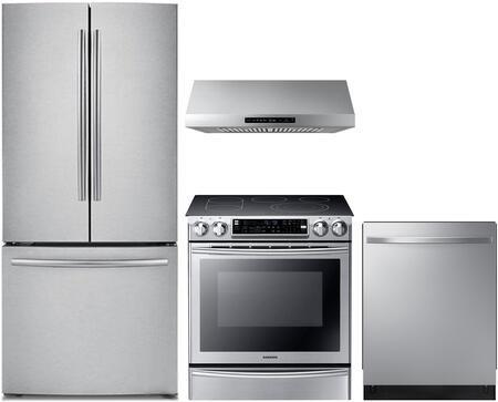 Samsung 4 Piece Kitchen Appliances Package With Rf220nctasr 30 French Door Refrigerator Ne58f9710ws 30 Electric Range