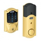 Schlage BE469NX CAM 605 Camelot Bright Brass Touchscreen Deadbolt with Alarm