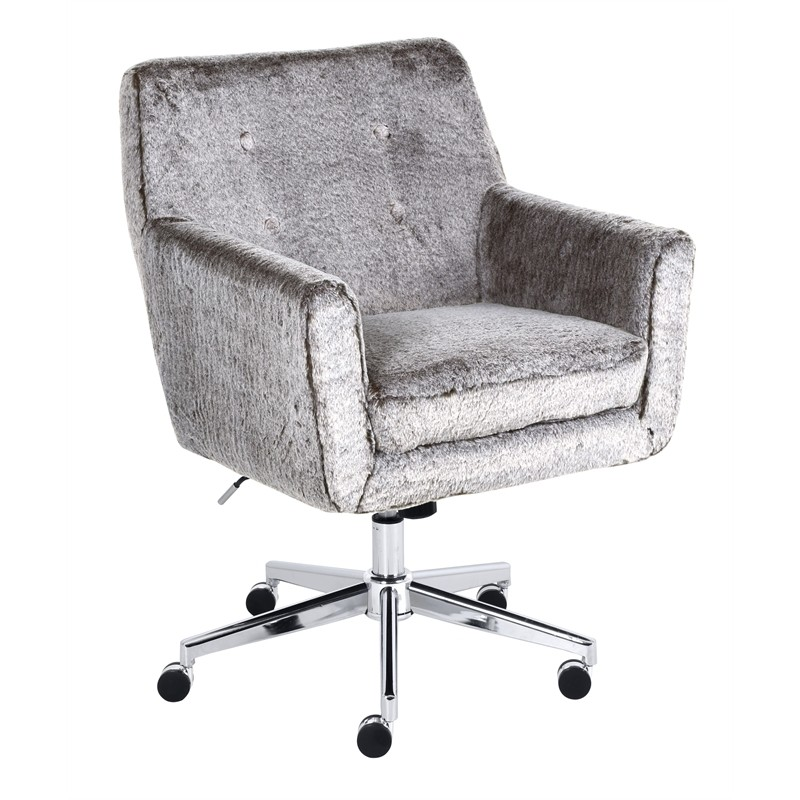 Serta Style Ashland Home Office Chair In Gray Faux Fur
