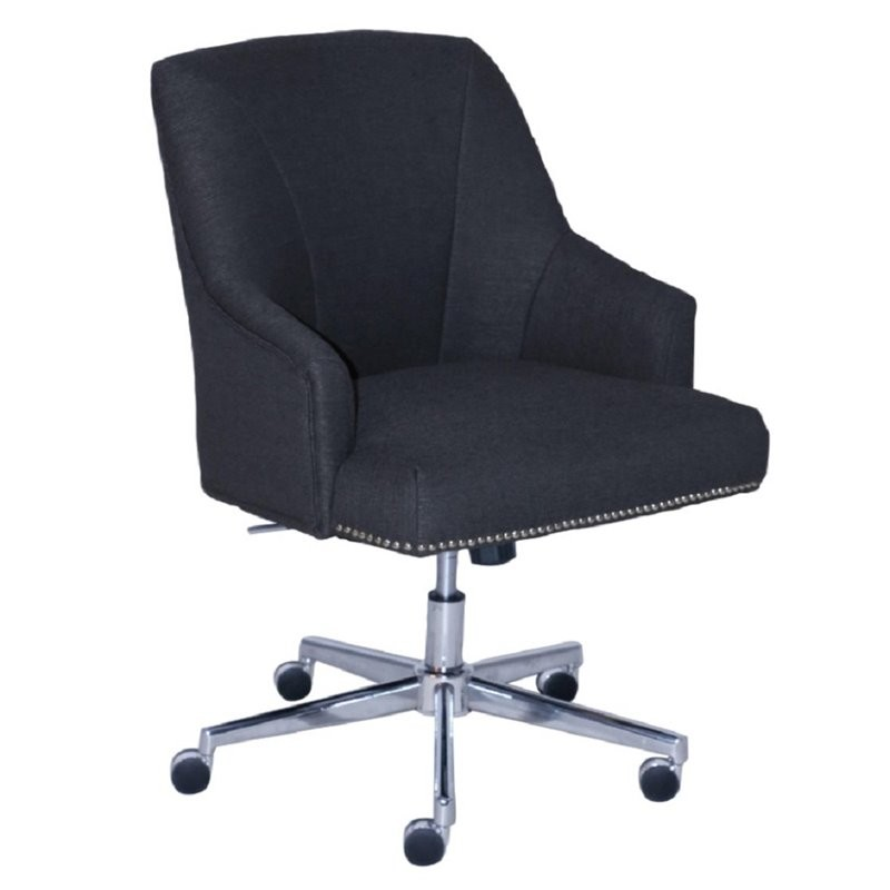 Serta at home style leighton twill office swivel chair in blue for Swivel chairs for office