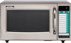 """Sharp R-21LVF 21"""" Medium Duty Commercial Microwave with 1 cu. ft. Capacity  1000 Watts  10 Memory Presets and Stainless Steel Interior and Door"""