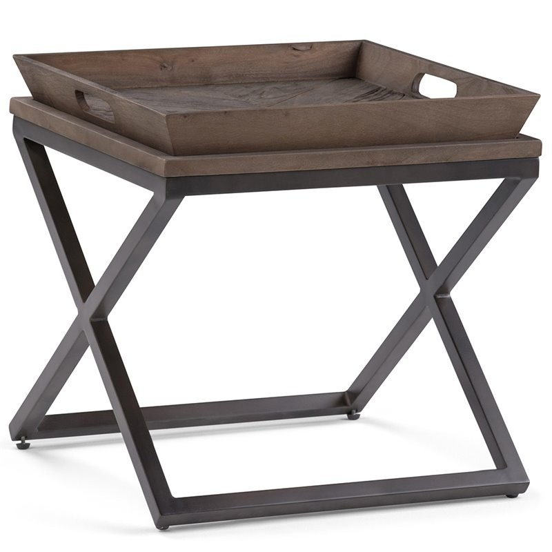 Simpli Home Damien 20 Quot Square End Table In Distressed