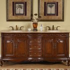 """Silkroad Exclusive HYP-8034-T-UIC-72 Grace 72"""" Double Sink Cabinet with 3 Drawers  4 Doors  Travertine Top and Undermount Ivory Ceramic Sinks (3-Hole) in Medium Wood Finish"""