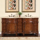 """Silkroad Exclusive HYP-0722-T-UIC-72 Ester 72"""" Double Sink Cabinet with 12 Drawers  4 Doors  Travertine Top and Undermount Ivory Ceramic Sinks (3-Hole) in Brown Finish"""