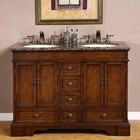 """Silkroad Exclusive HYP-0715-BB-UIC-48 Ashley 48"""" Double Sink Cabinet with 5 Drawers  4 Doors  Baltic Brown Granite Top and Undermount Ivory Ceramic Sinks (3-Hole) in Brown Finish"""