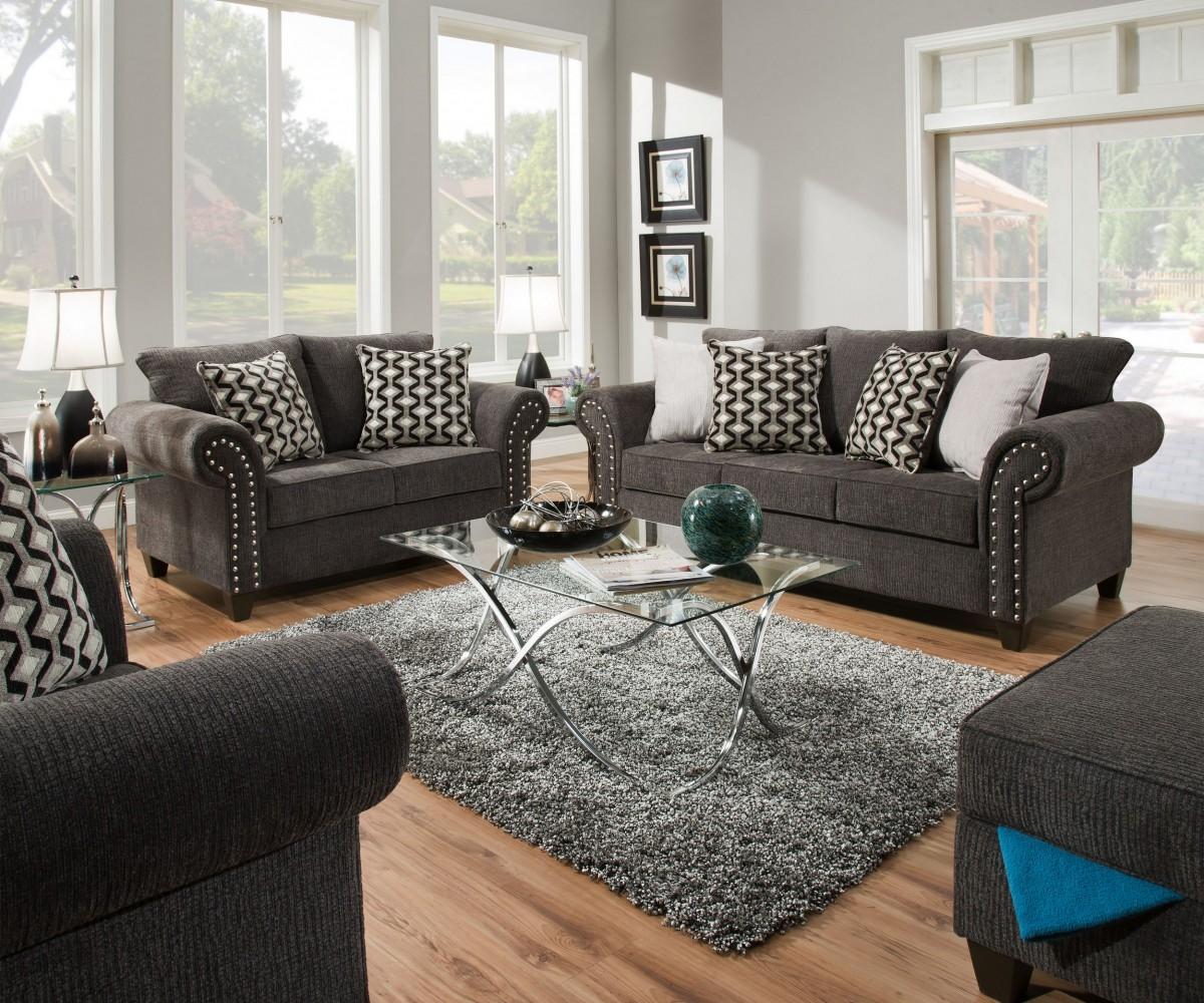 Drummond 3 Piece Living Room Set In: Simmons Upholstery Reed Charcoal 3-Piece Living Room Set