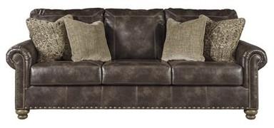 Ashley Furnitureashley Nicorvo Collection 8050538 97 Sofa With Designer Sching Nailhead Trim 4 Plush Accent Pillows Roll Arms Tu
