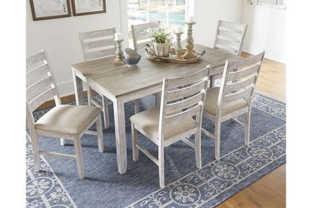 Ashley Skempton Collection D394 425 36 Dining Room Table Set 7 Cn Includes Rectangular Table And 6 Chairs In White Light Brown