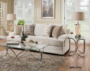 "Simmons Upholstery 6547BR-03 GRENADA NATURAL 89"" Sofa with Chrome Nail Heads  Made in The U.S.A.  Toss Pillows Included  Hardwood Lumber Frames  Reversible Seat Cushions and Chenille Upholstery"