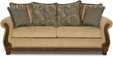 Simmons Upholstery 8115 03 Outback Antique 86 Sofa With Pillow Back Cushions Rolled Arms High Density