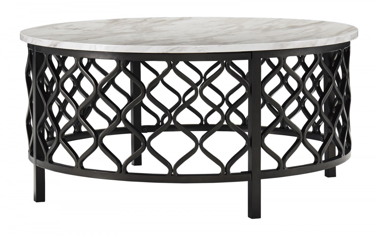 Signature Design By Ashley Trinson Round Cocktail Table In Gray Black T691 8