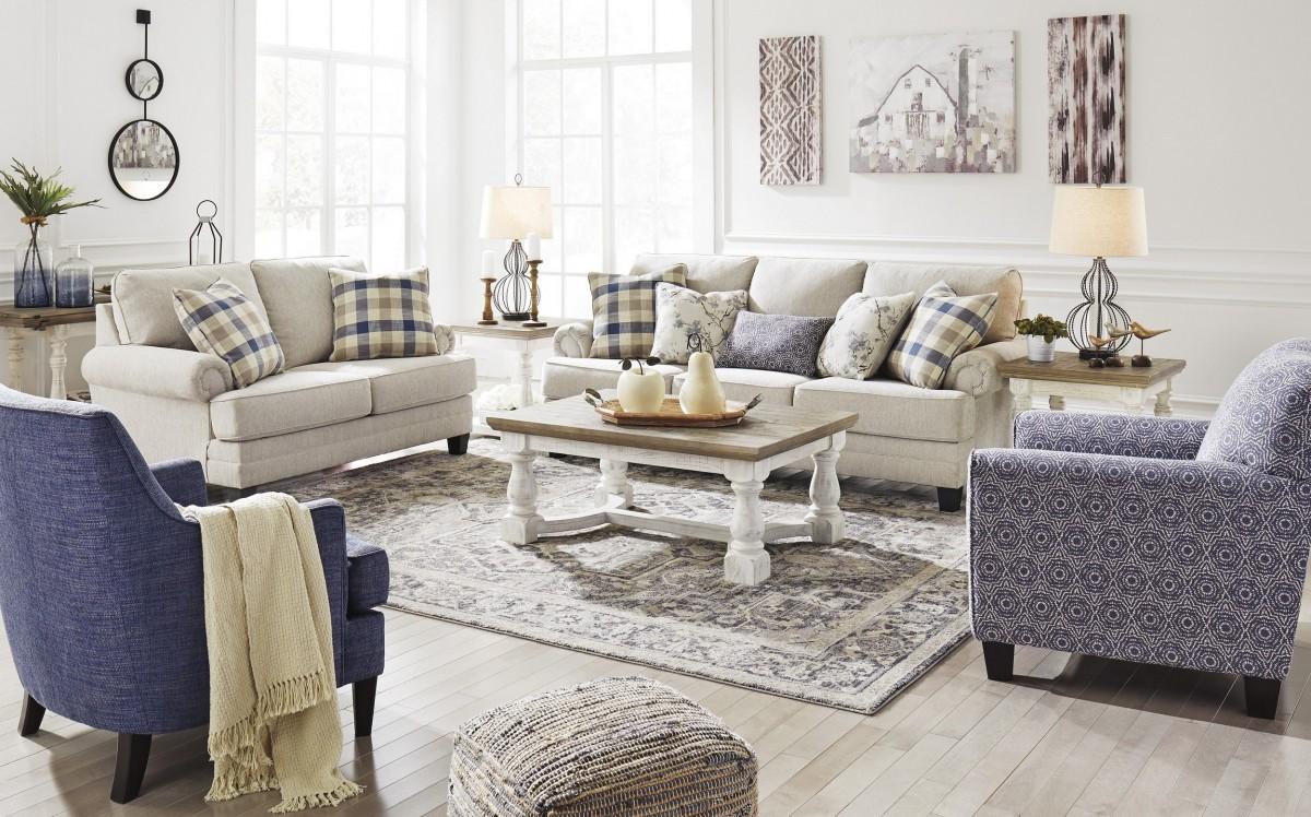 Signature Design by Ashley Meggett Linen 4 Piece Living Room Set