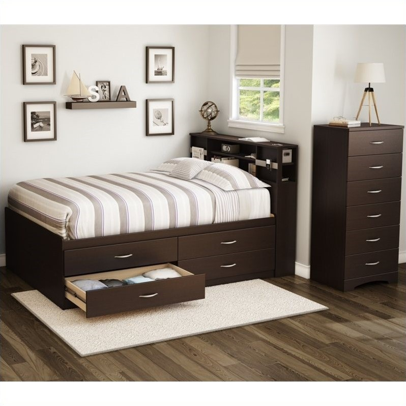 South shore back bay 3 piece full captains bedroom set in - South shore 4 piece bedroom furniture set ...