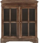 """Stein World 13626 34"""" Bookcase with 2 Glass Doors  Non-Adjustable Shelf and Distressed Details"""