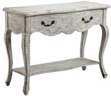 "Stein World Dedra 13615 40"" Table with 1 Drawer  Bottom Shelf and Cabriole Legs in Hand Painted Grey"