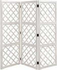 """Stein World Juliette 13237 72"""" Screen with Three Panels  Hand Painted and Quatrefoil-Shaped Design in White"""