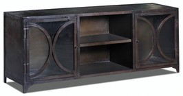 "Stein World Aurecka 13480 63"" Two-Door Console Table with One Fixed Shelf and Two Door Metal Cabinet in Dark Brown"